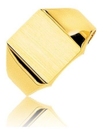 Anillo Oro 18k- Sello Rectangular Liso- 5 Gramos