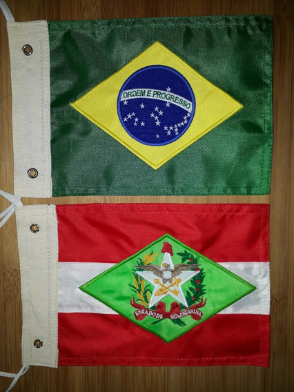 Kit Bandeira Moto Santa Catarina E Brasil. Bordado