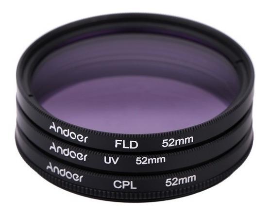 3 Peças 52mm Uv+cpl+fld Kit Filtro Canon Nikon Sony Dslr Cam