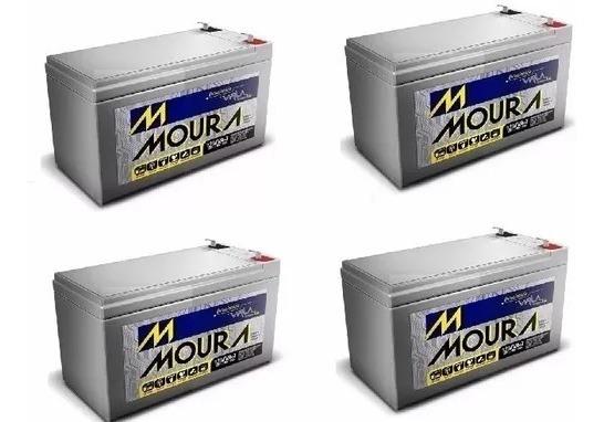 Kit 4 Bateria Moura Vrla Selada 12v 9ah Alarme / Nobreak