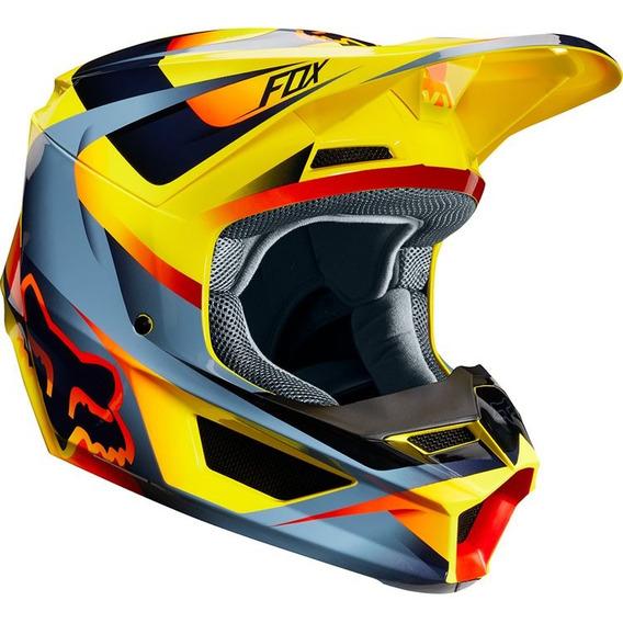 Capacete Fox Mx V1 Mvrs Motif Amarelo S2r