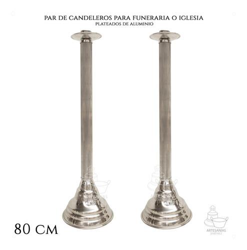 Imagen 1 de 5 de Candelero De Aluminio 80 Cm 2 Piezas Iglesias O Funerarias
