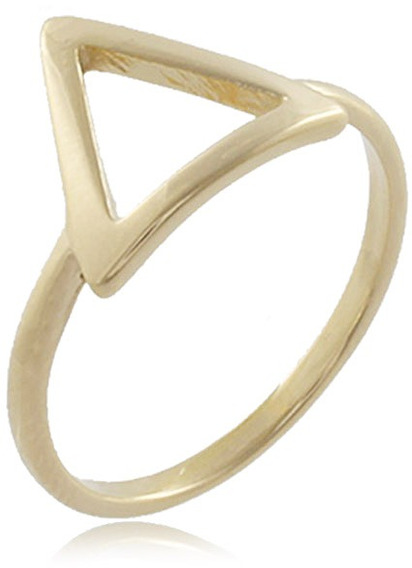 Anel Triângulo Vazado Folheado Ouro 18k - Oferta