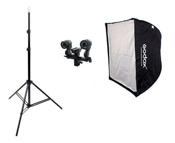 Kit Softbox Godox 60x60cm P Flash Ou Lâmpada De Luz Contínua