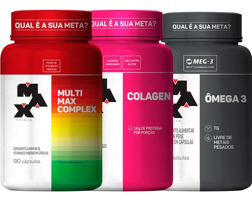 Combo Multimax Complex + Omega 3 + Colagen - Max Titanium