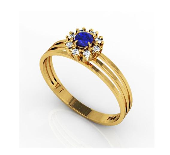 Anel Ouro 18k Pedras