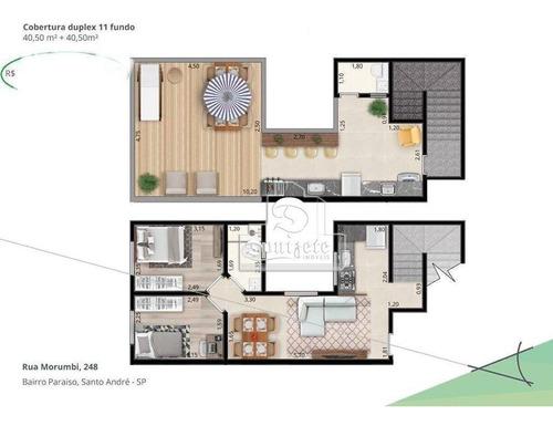 Cobertura À Venda, 82 M² Por R$ 316.000,00 - Jardim Paraíso - Santo André/sp - Co11589