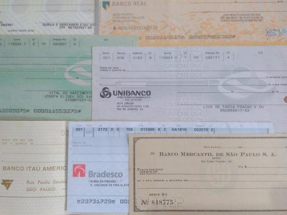 Brasil Lote 7 Antigas Cédulas De Cheque 5 Bancos Diferentes