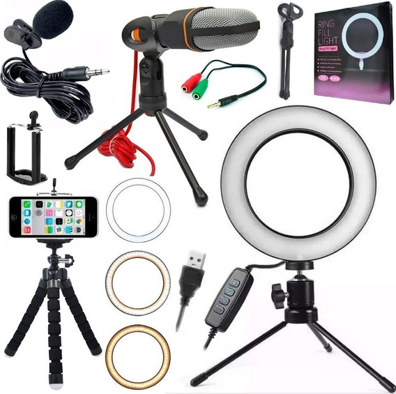 Kit Youtuber Tripé Lapela Celular Anel Ring Light Iluminador