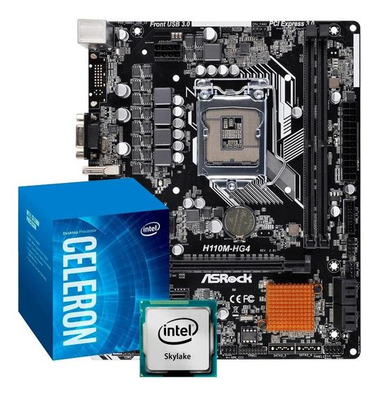 Kit Processador Celeron G3900 Lga 1151 Placa Mãe H110m