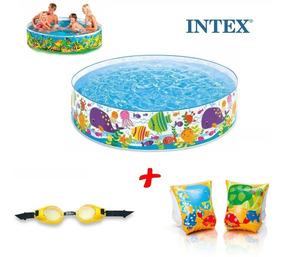 Piscina Infantil Intex 1000 Litros + Boia + Óculos Mergulho