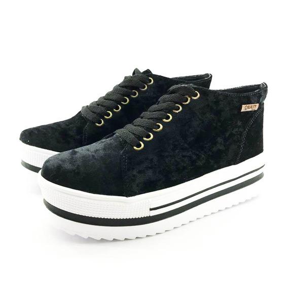 Tênis Flatform Quality Shoes 006 Veludo Preto Sola Alta Com