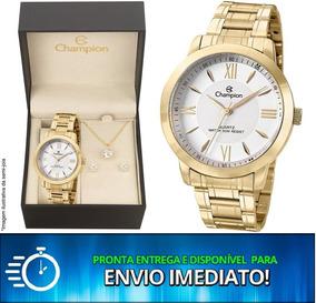Relógio Champion Ch24697j + Brinco + Colar