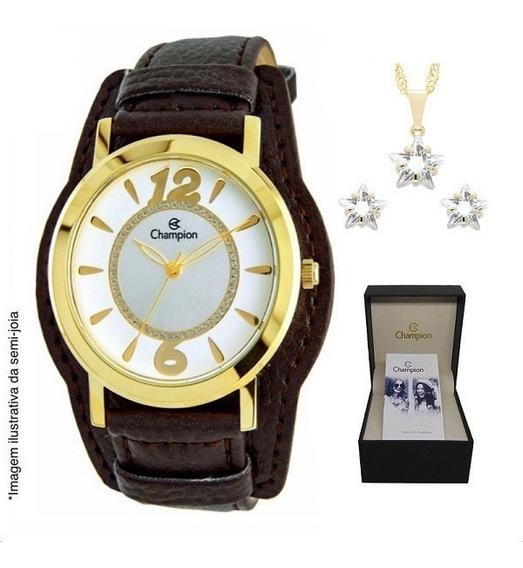 Relógio Champion Feminino Couro Cn20284w + Colar E Brincos