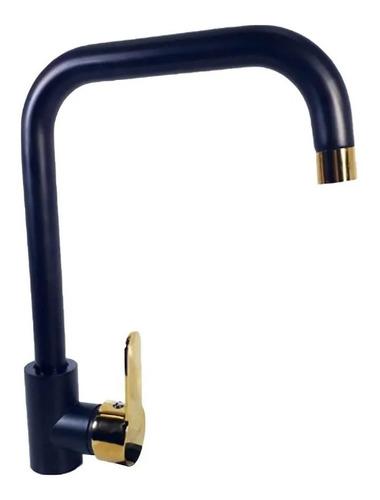 Imagen 1 de 3 de Canilla Monocomando Mesada Negro Y Dorado Premium