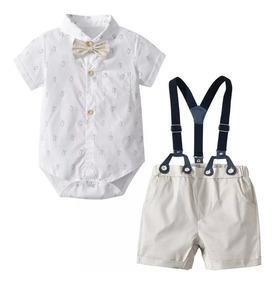 Kit Roupa Bebê 4 Peças Camisa Bermuda Susp Gravata Ate 4anos