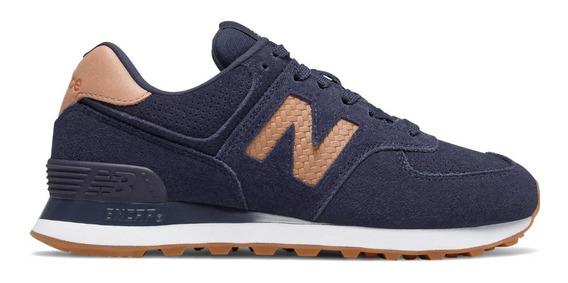 Tênis New Balance Wl574 Wlp Feminino Azul Marinho E Caramelo