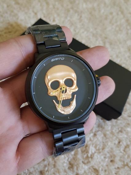 Relogio Gimto Cranio Caveiro Skull Dourado Com Caixa