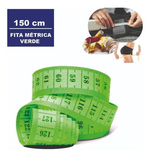 Imagem 1 de 7 de Fita Metrica Embalagem Plastica 150 Cm Cor:verde