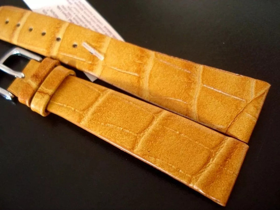 Pulseira Couro 20 Mm Relógio Luxo Legítimo Sem Costura Âmbar