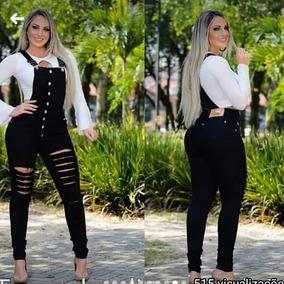 Macacão Jeans Feminino Jardineira Rasgada Com Lycra