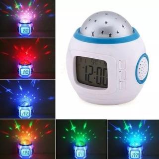 Reloj Despertador Alarma Proyector Estrellas C Musica Oferta