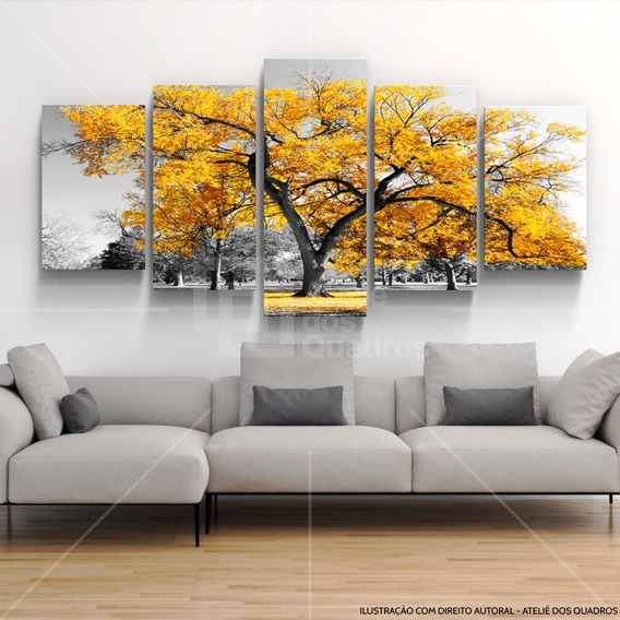 Quadros Decorativos Arvore Vida Botanico Sala Quarto Amarelo