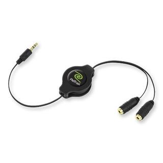 Cable Audio Retractil Retrak 3.5mm Macho A Doble 3.5mm