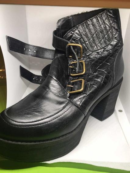 Zapato Botita Cuero Legítimo Usado Plataforma Sibyl Vane