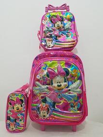 Kit Mochila Infantil Minnie Lanch Rodeira+estojo 4d