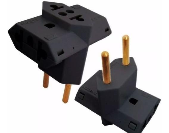 Kit Com 5 Unid Plug Adaptador T Preto De Tomada Benjamin