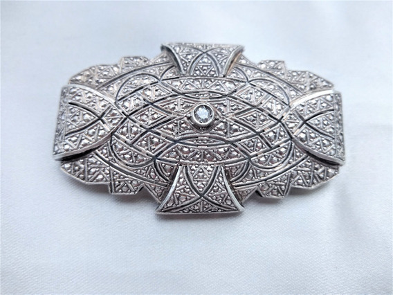 Broche Antigo Prata Com Diamantes Anhos 20