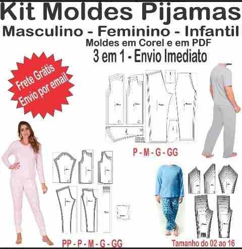 Kit Molde Pijama Feminino Maculino Einfantil Em Pdf E Corel