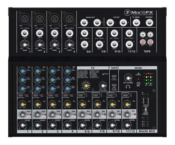 Mackie Mix12fx Mixer 12 Canais Mesa Som Efeitos Áudio Mix Fx