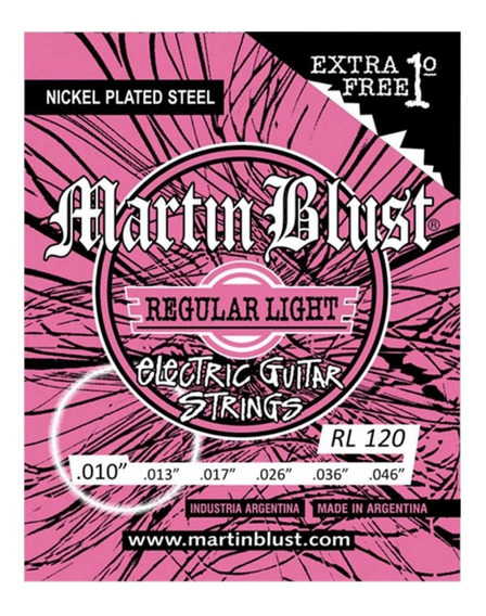 Encordado Cuerdas Martin Blust 010 Guitarra Electica + 1°
