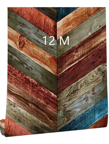 Imagen 1 de 7 de Papel Pintado Autoadherible Veta Madera Color Rombo 12mx45cm