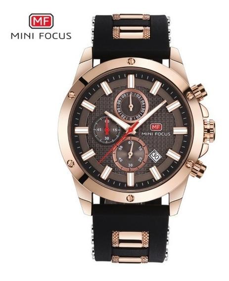 Relógio Masculino Aço Inox Borracha Dourado Mini Focus Novo