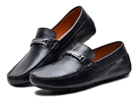 Mocassim Dockside Atron Shoes De Couro Preto Unissex