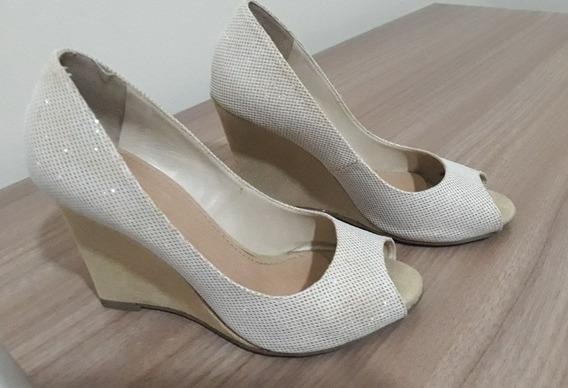 Sapato Anabela, N. 35, Milano, Cor Gelo Com Dourado