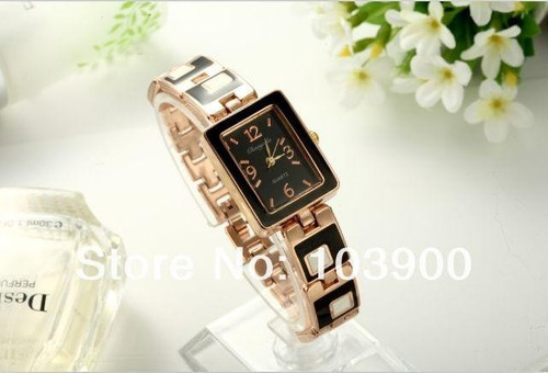 Relogio Bracelete Feminino Preto Dourado Luxo