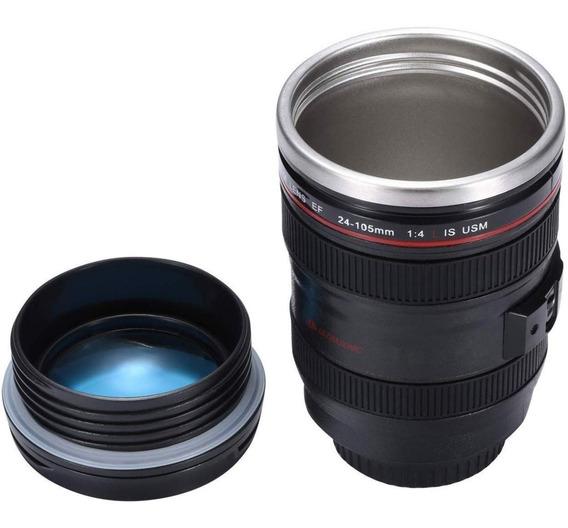 Taza / Vaso Termico Diseño De Camara De Fotos Con Tapa