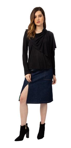 Saia Jeans Midi Lavagem Escura Forum 34441
