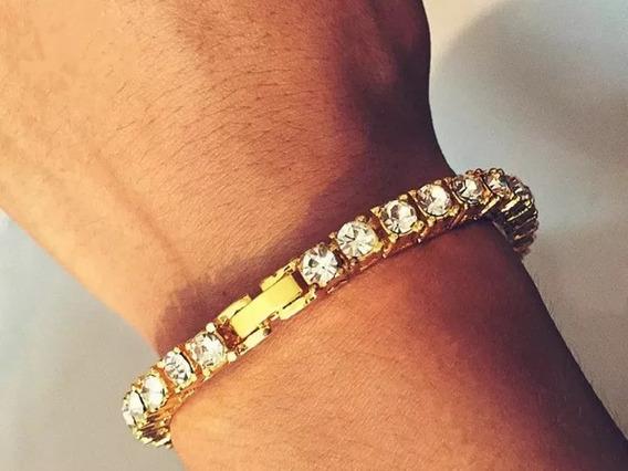 Pulseira Bracelete 1 Row Cor Ouro 5 Mm Cravejado Hip Hop