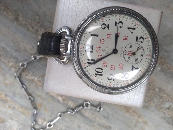 Reloj De Bolsillo Elgin Ferrocarril Reglamentario 17 Joyas.