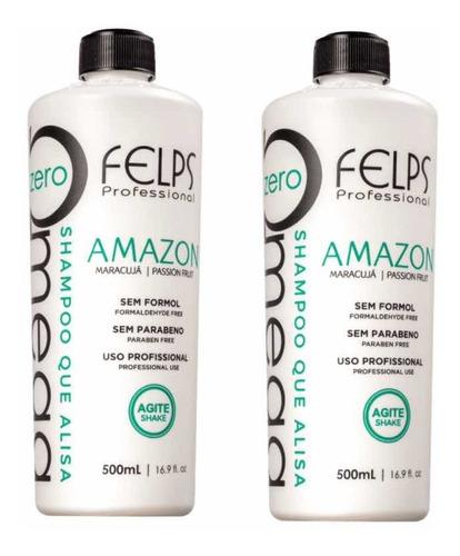 2x Ômega Zero Amazon Shampoo Que Alisa Sem Formol 500ml + Brinde