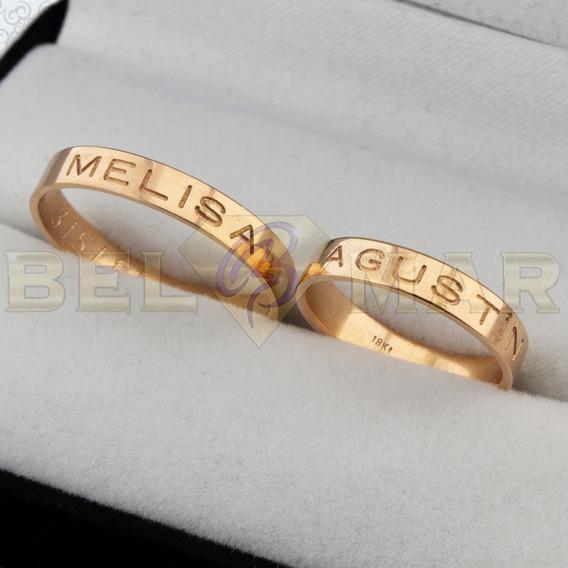 Par Alianzas Cinta Oro 18kts Grabado Externo Casamiento Boda