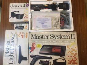 Master System Com Oculos 3d Light Phaser 2 Controles + Jogos