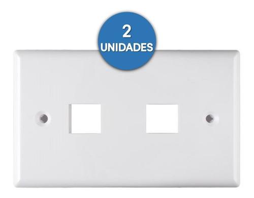 Imagen 1 de 2 de Tapa Faceplate 2 Puntos Rj45 Blanca Coupler Ctornillo