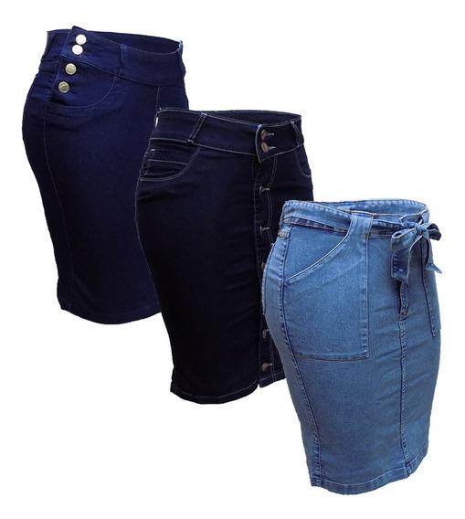 Saia Jeans Evangélica Plus Size Kit C/3 Modelos Variados
