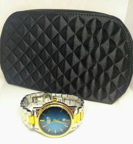 Kit Relógio Feminino+necessaire Para Carregar A Make